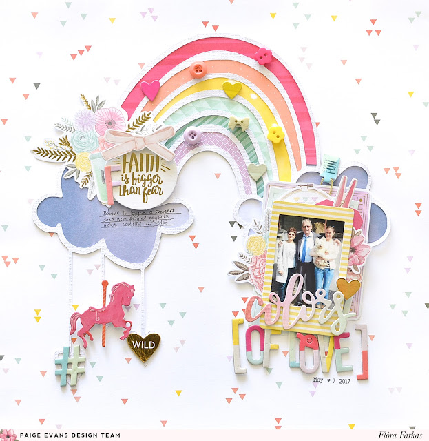 Rainbow scrapbook layout made with Pink Paislee Paige Evans Take Me Away collection | by @floramfarkas
