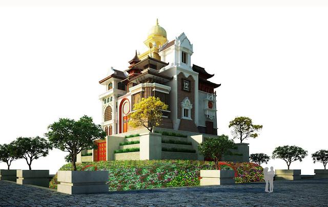 Tòa lâu đài tuyệt đẹp kết hợp gồm 9 nền kiến trúc khác nhau của phương Đông
