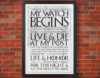 Night's Watch Oath Poster | Tomes and Tequila Blog