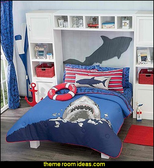 Shark Attack Comforter Set  Shark Bedrooms - shark murals - Shark Decor - shark wall decals - shark theme bedroom decorating ideas -  surfing theme bedrooms - surf shack bedrooms - shark bedding - nautical bedrooms - 3d shark wall decorations