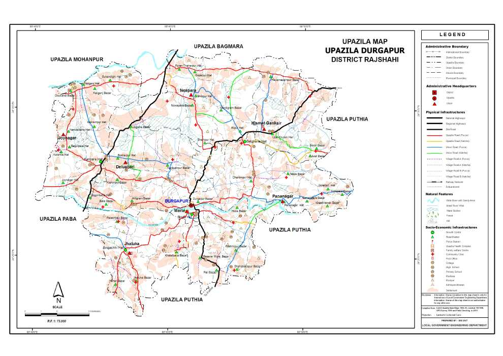 Durgapur Upazila Map Rajshahi District Bangladesh
