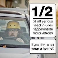 αν οδηγείτε αυτοκίνητο φοράτε κράνος