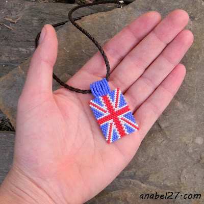 beaded pendant union jack british flag