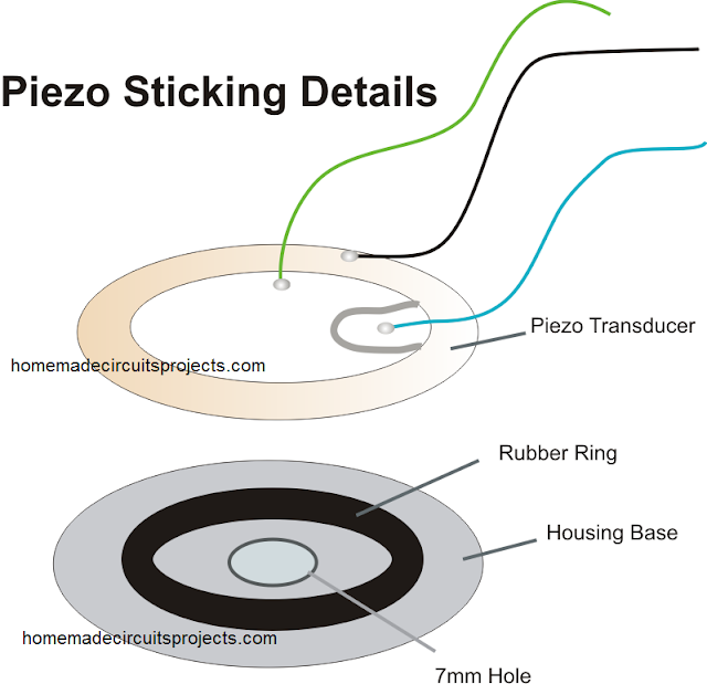 how to stick piezo on a plastic enclosure using rubber ring