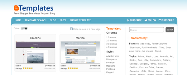 websites free blogger templates