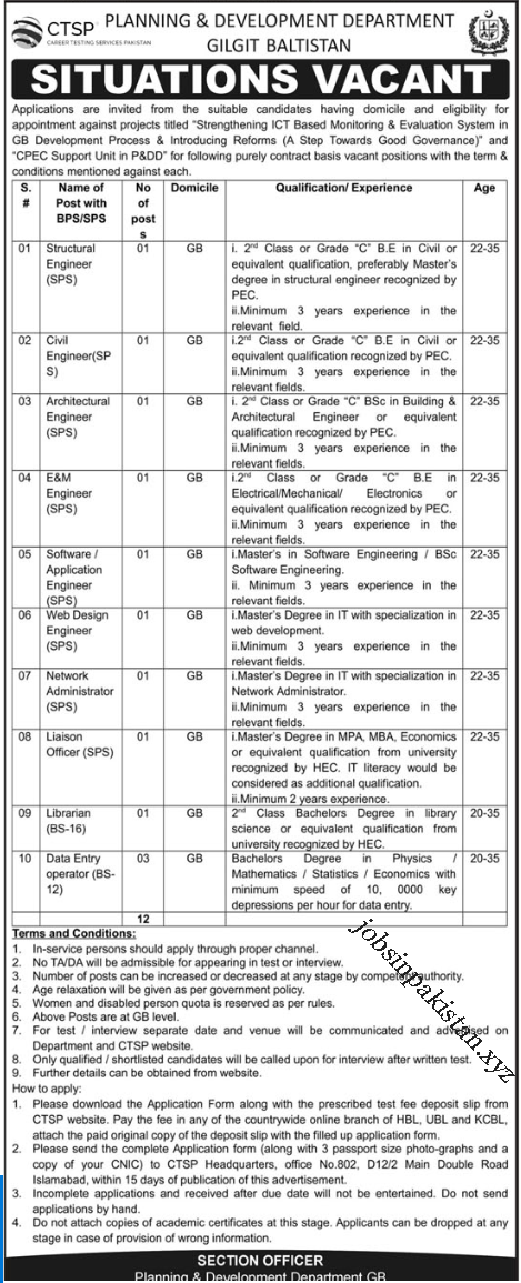Advertisement for Planning and Development Department Jobs 2018