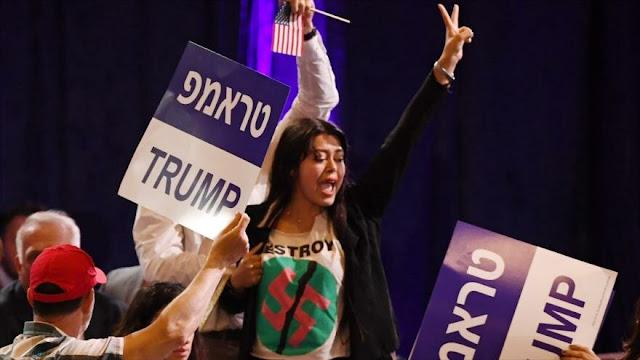 Judíos interrumpen discurso de Trump con protestas contra Israel