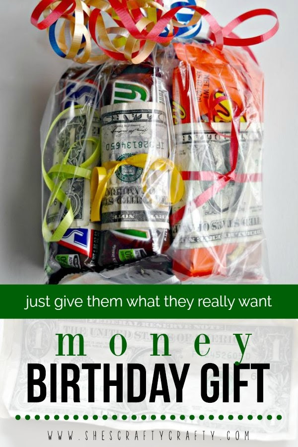 how to give money as a birthday gift to teens - candy bars wrapped with dollar bills