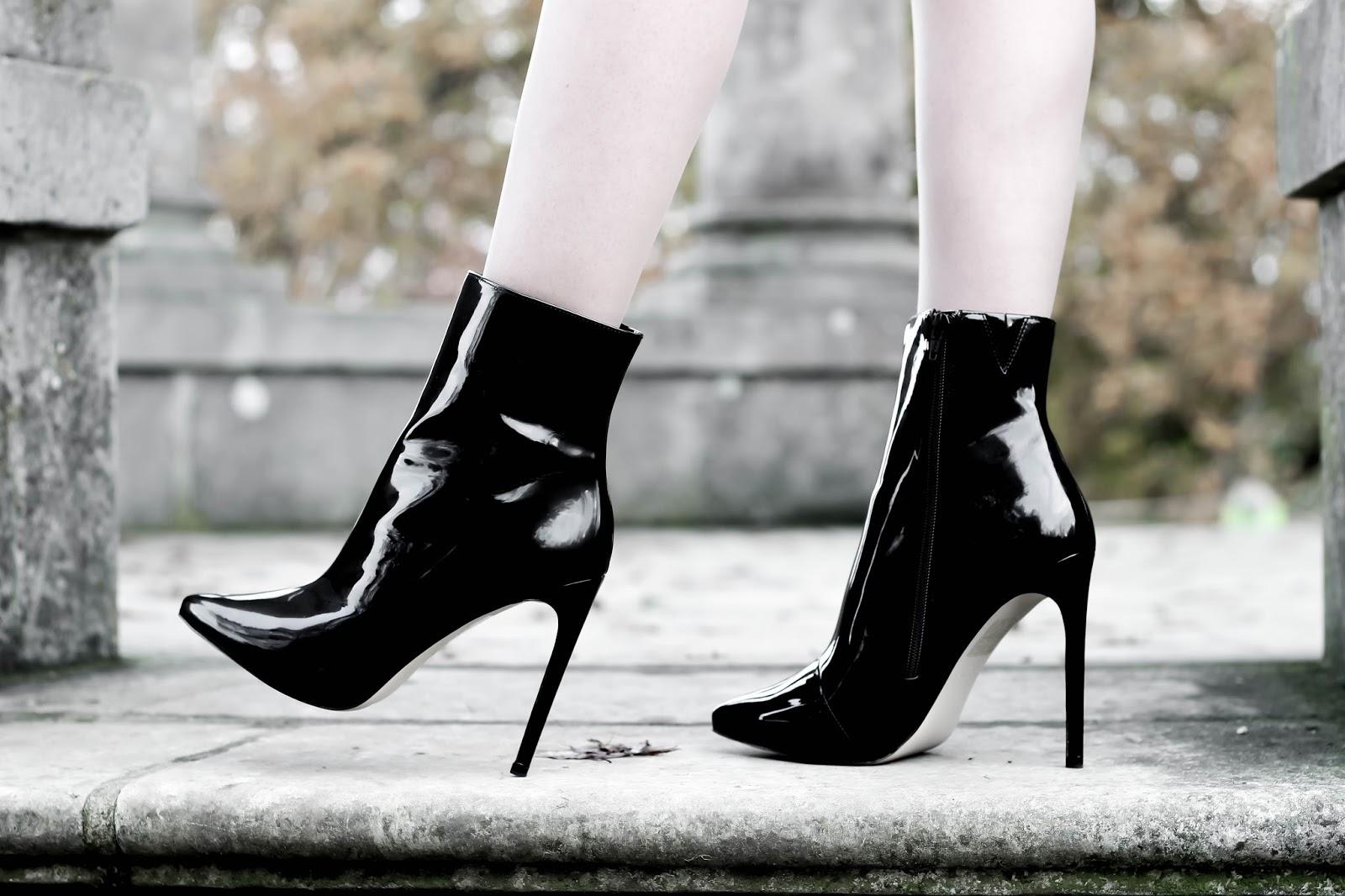 Aldo Black Patent Loreni Stiletto Boots