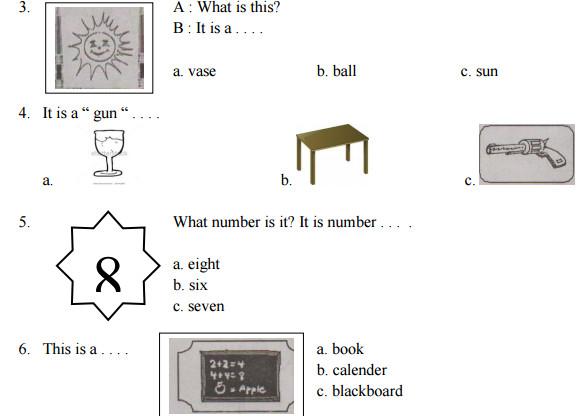 Contoh Soal UAS Bahasa Inggris Kelas 1 SD Semester 1 Kurikulum KTSP
