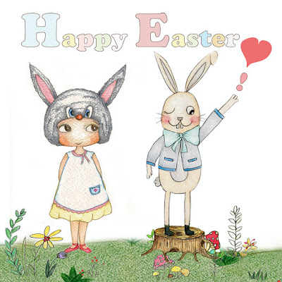 children illustrations, Little Curly the eco-friendly girl, Easter Bunny