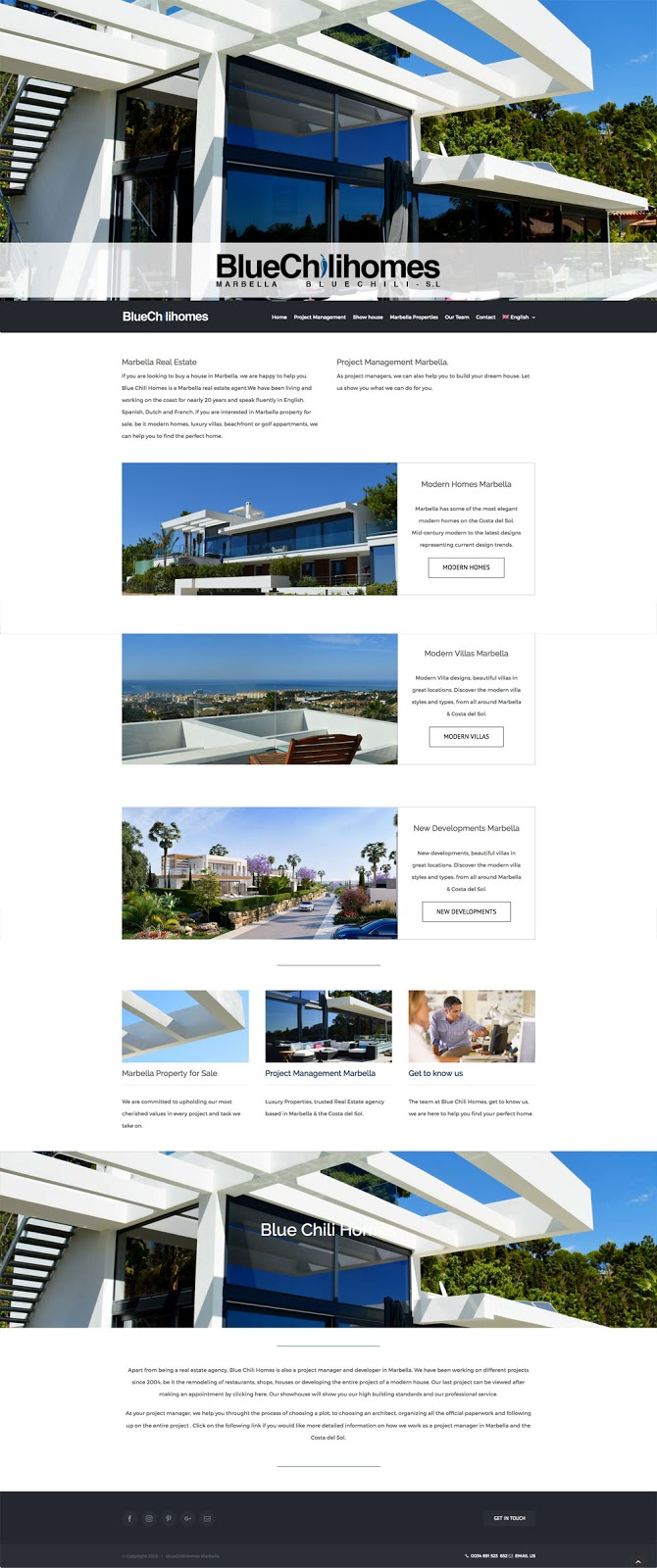 Web Design idea: crisp, clean, and easy to navigate. They were very interested in controlling all aspects of the website, and having multiple languages that are easy to control and are Google optimised for each language. Priority on the home page to provide general information about their Property listings, New developments in Marbella and the Costa del Sol. Contact information, including a phone number, contact form and physical location.