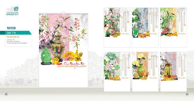 NH39 - Phú quý phát tài, Lịch treo tường 7 tờ, in lịch, mẫu lịch đẹp, lịch phong thuỷ