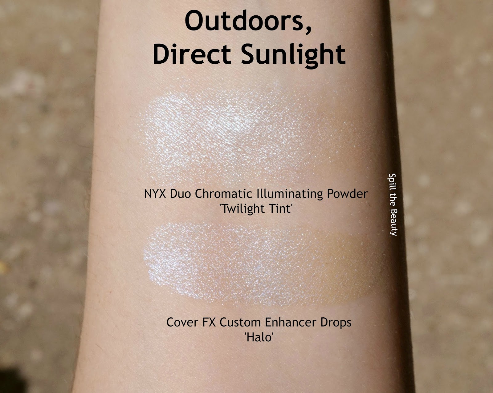 nyx duo chromatic illuminating powder highlighter twilight tint review swatches dupe comparison cover fx custom enhancer drops halo