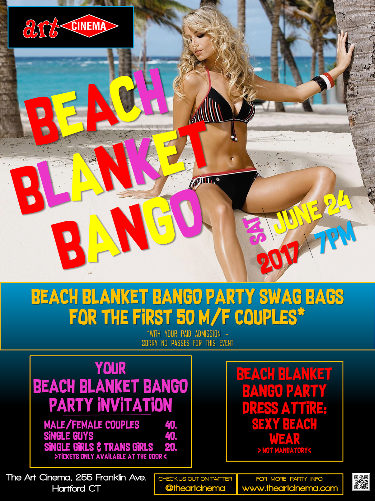 The Next Art Cinema Event in Hartford, CT! Beach Blanket Bango!