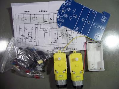 kit de robô seguidor de linha componentes