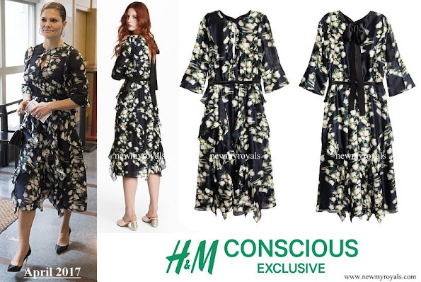 Crown Princess Victoria wore a patterned silk dress from H&M Conscious Exclusive Collection at the birthday party.
