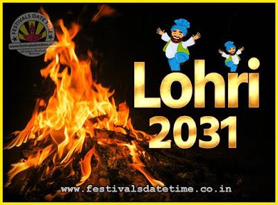 2031 Lohri Festival Date & Time, 2031 Lohri Calendar