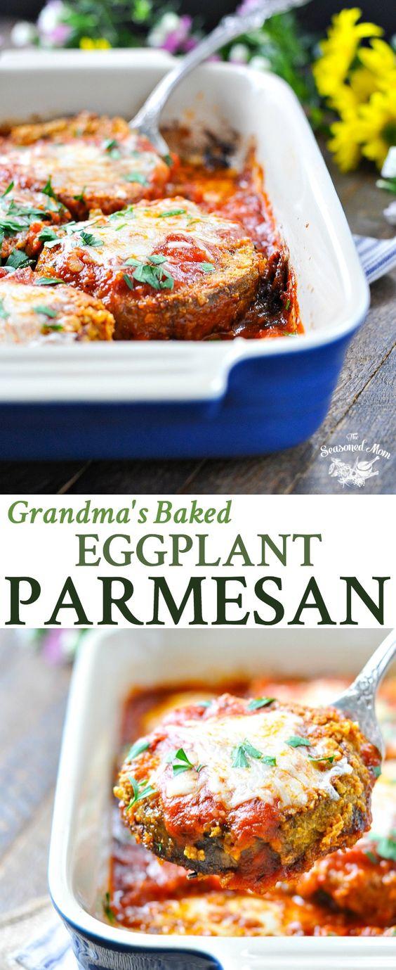 GRANDMA'S BAKED EGGPLANT PARMESAN #eggplant #parmesan #dinner #dinnerideas #dinnerrecipes #easydinnerrecipes