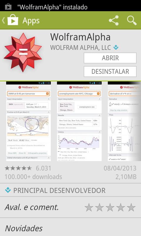 Clique em abrir para inciar o app