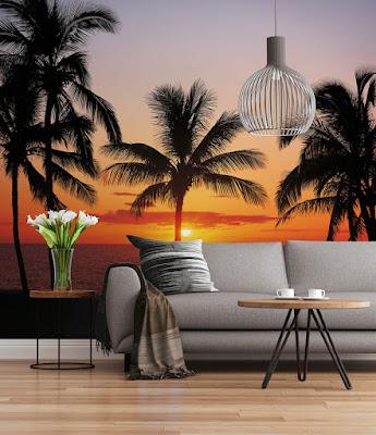 Fotomural Playa Puesta de sol con palmeras