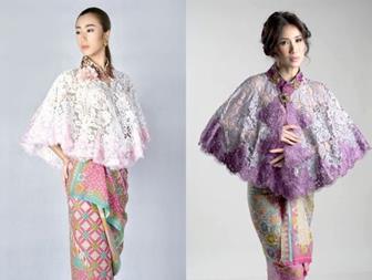 Model Baju Batik Kombinasi Brokat Pendek