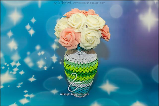 549. Wazon z origami na róże / 3d origami vase