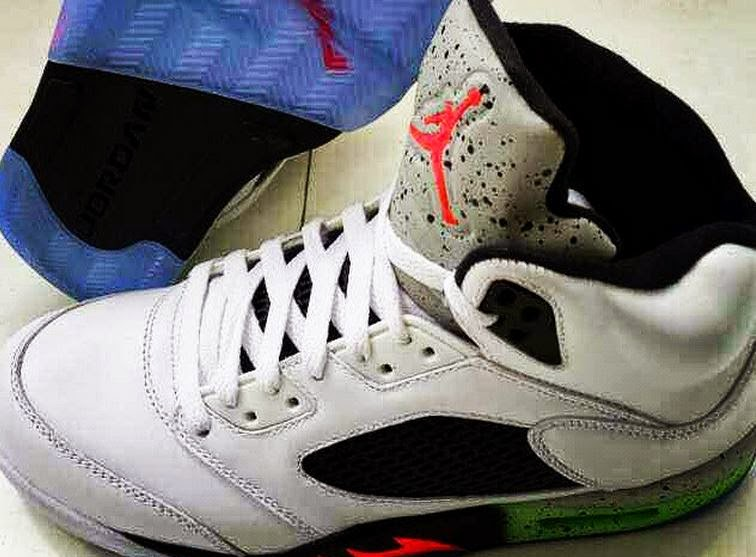 559b9dda325 2015 Air Jordan 5 Fire Red Poison Green  Cement Tongue Sneaker (New Image +  Release Date)