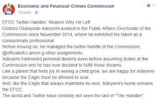 EFCC reveals why its former twitter handler Left