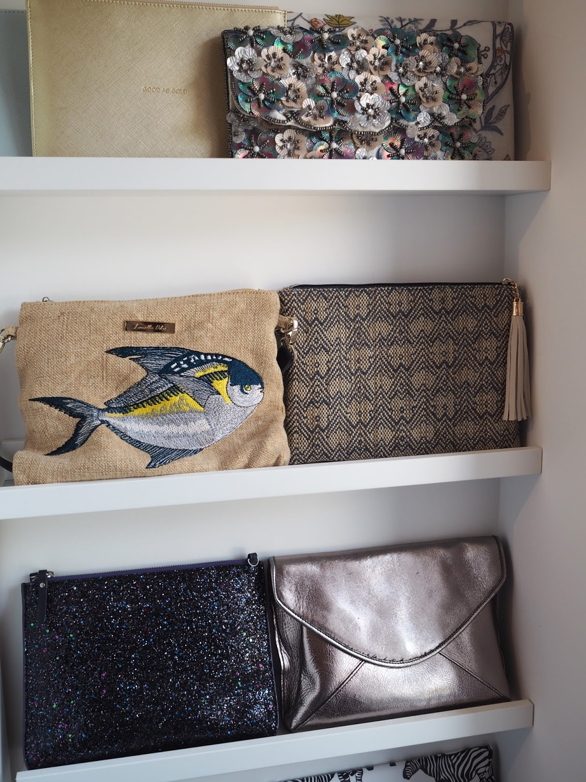 Ikea picture ledges for storing clutch bags