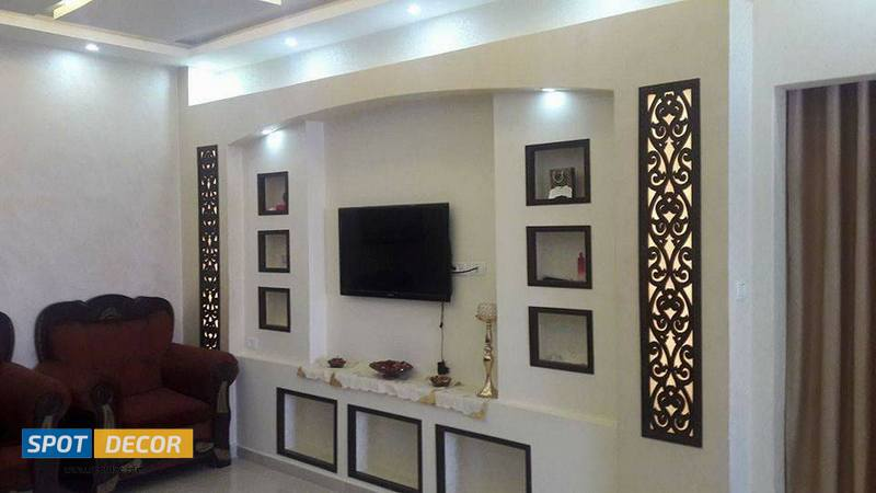 TV Wall Decorations With Gypsum Board & CNC
