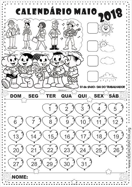 Calendários com numeração e sem numeração ilustrados com a Turma da Mônica