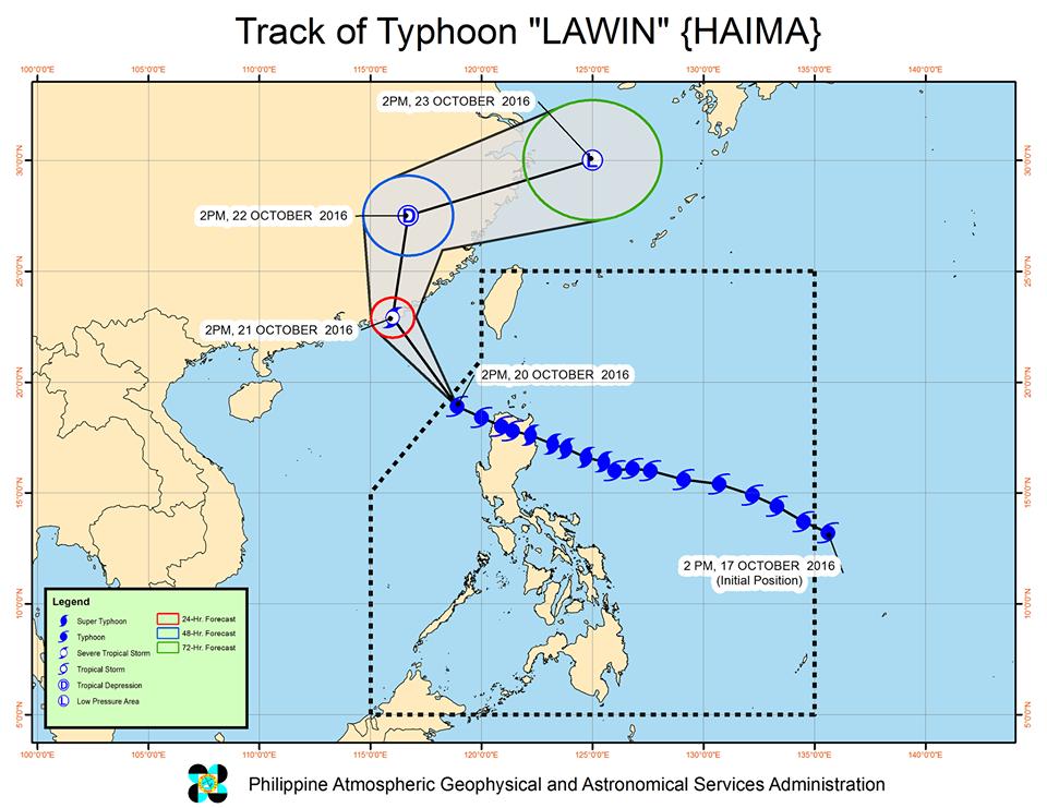Typhoon Lawin Track