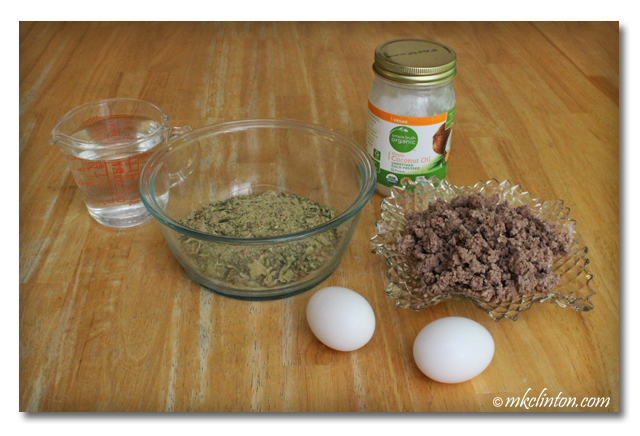 Dr. Harvey's Paradigm pre-mix, water, ground beef, coconut oil and eggs