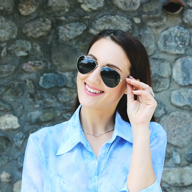 Jelena Zivanovic Instagram @lelazivanovic.Glam fab week.H&M black aviator sunglasses.