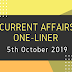 Current Affairs One-Liner: 5th October 2019