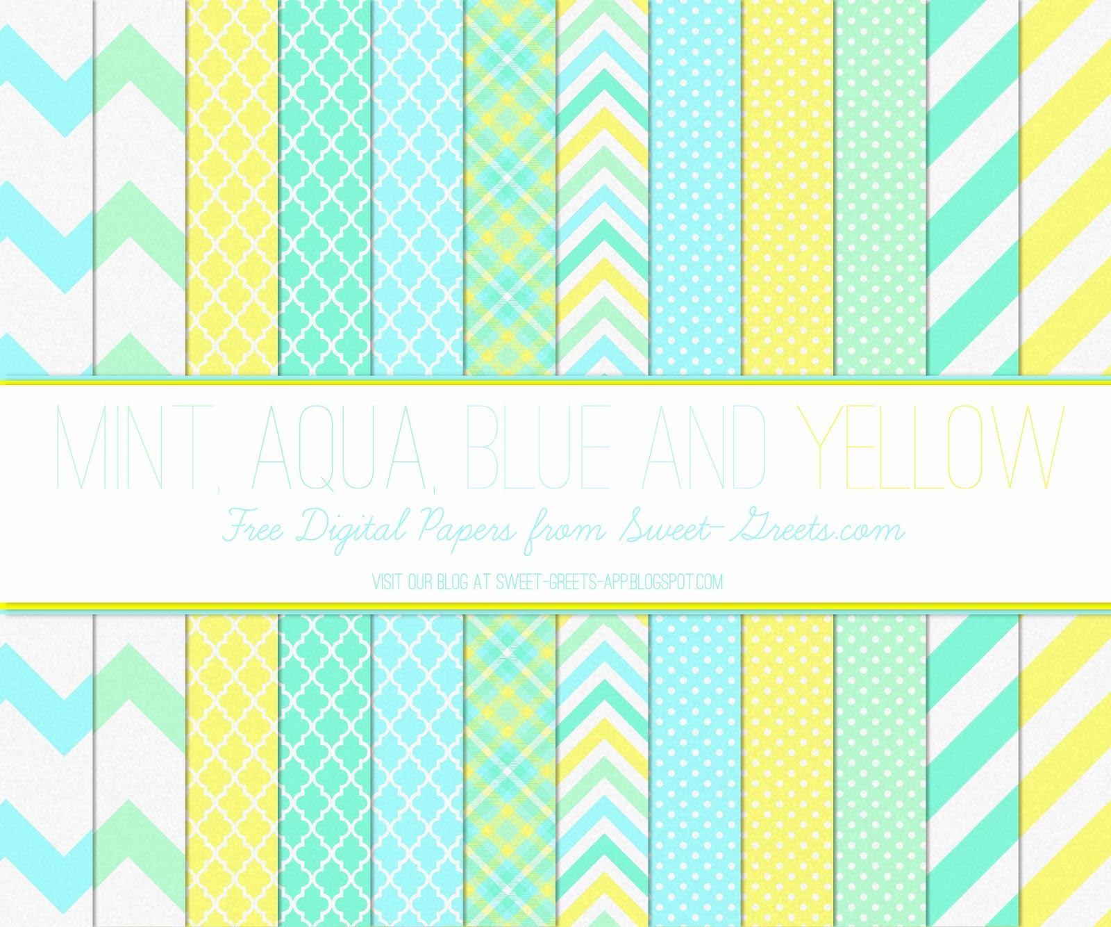Free Digital Paper: Mint, Aqua, Blue and Yellow