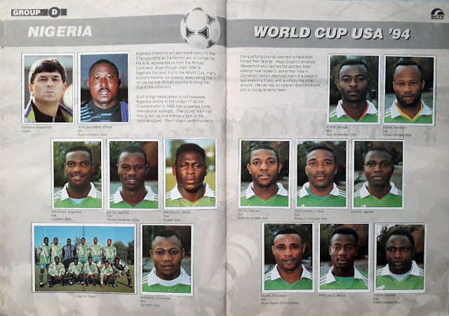 WORLD CUP USA '94 STICKER ALBUM COLLECTION GROUP D NIGERIA