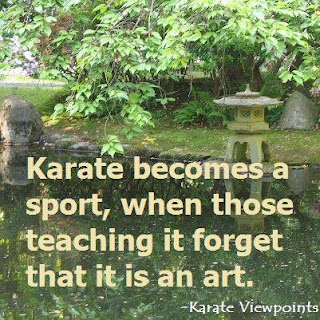 "[Image: a river bank in Japan with trees in the foreground and a stone lantern in the background. Colours are different shades of green under a mid-day overcast sun. Text in picture: ""Karate becomes a sport when those who are teaching it forget that it is an art.""  -Karate Viewpoints]"