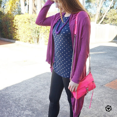 awayfromblue instagram purple cardigan navy polka dot tee skinny jeans