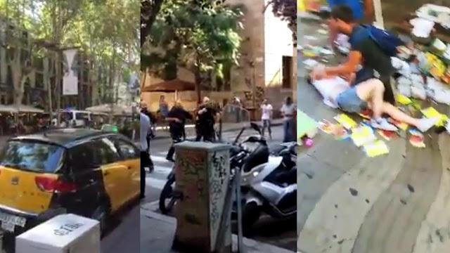 Barcelona terrorist atack CCTV Camera footage
