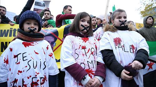 اعتراض به کشتار غیرنظامیان حلب در بلژیک