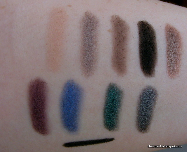Swatches of MUA Smokin Eyeshadow palette (natural light)
