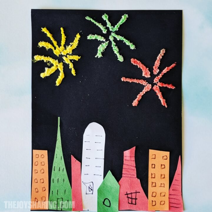 Salt watercolor painting for kids. Easy firework art to celebrate New Year, Independence Day, or Diwali.