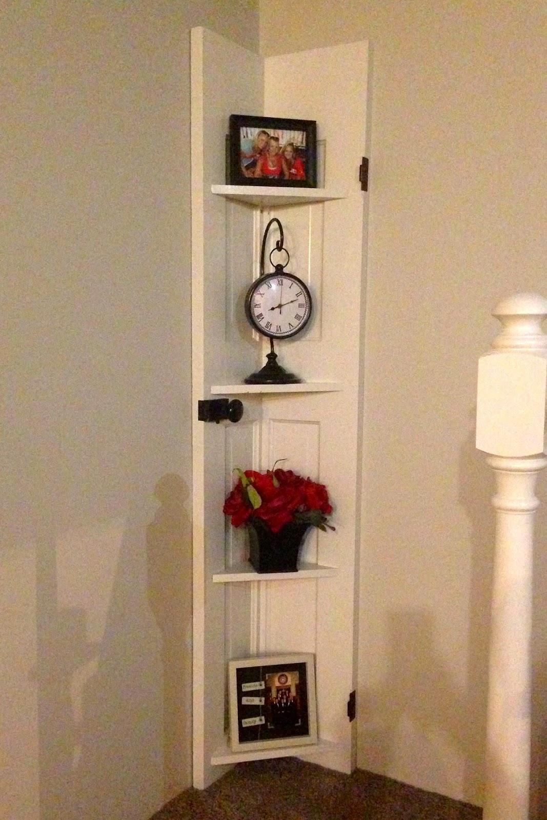 Lighting Basement Washroom Stairs: DIY Why Spend More: Old Door Turned Into Corner Shelf