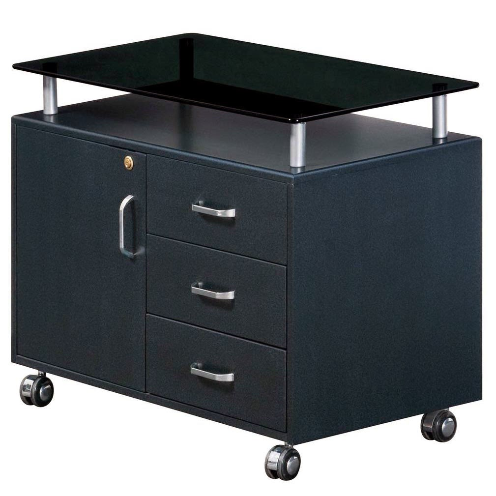 The Breathtaking Deluxe Rolling Glass Top File Cabinet Image