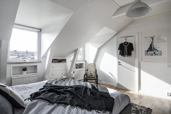 model desain kamar tidur di bawah atap bangunan
