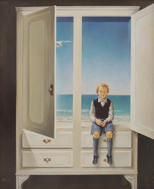 Alberto Pancorbo arte moderno hiperrealista surrealista contemporáno magritte chico en el armario paisaje con mar narnia