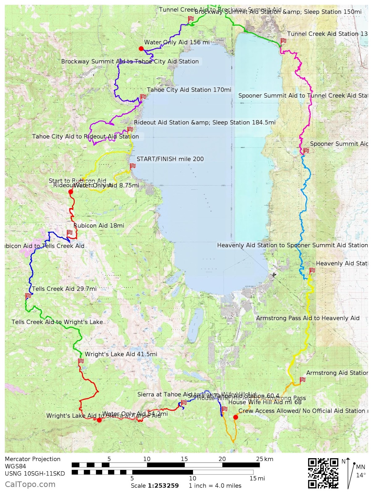 Tahoe 200 course: one single loop around iconic Lake Tahoe!