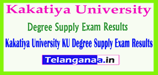 Kakatiya University KU Degree Supply Exam Results 2018